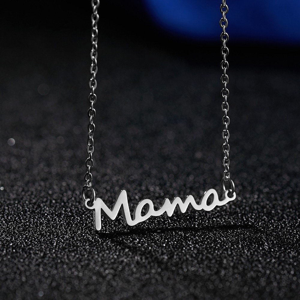 12PC/Lot Wholesale Mama Pendant Necklace Chain Gift For Mom Mother Family Love Mothers Day Gift Mommy Women Necklaces image
