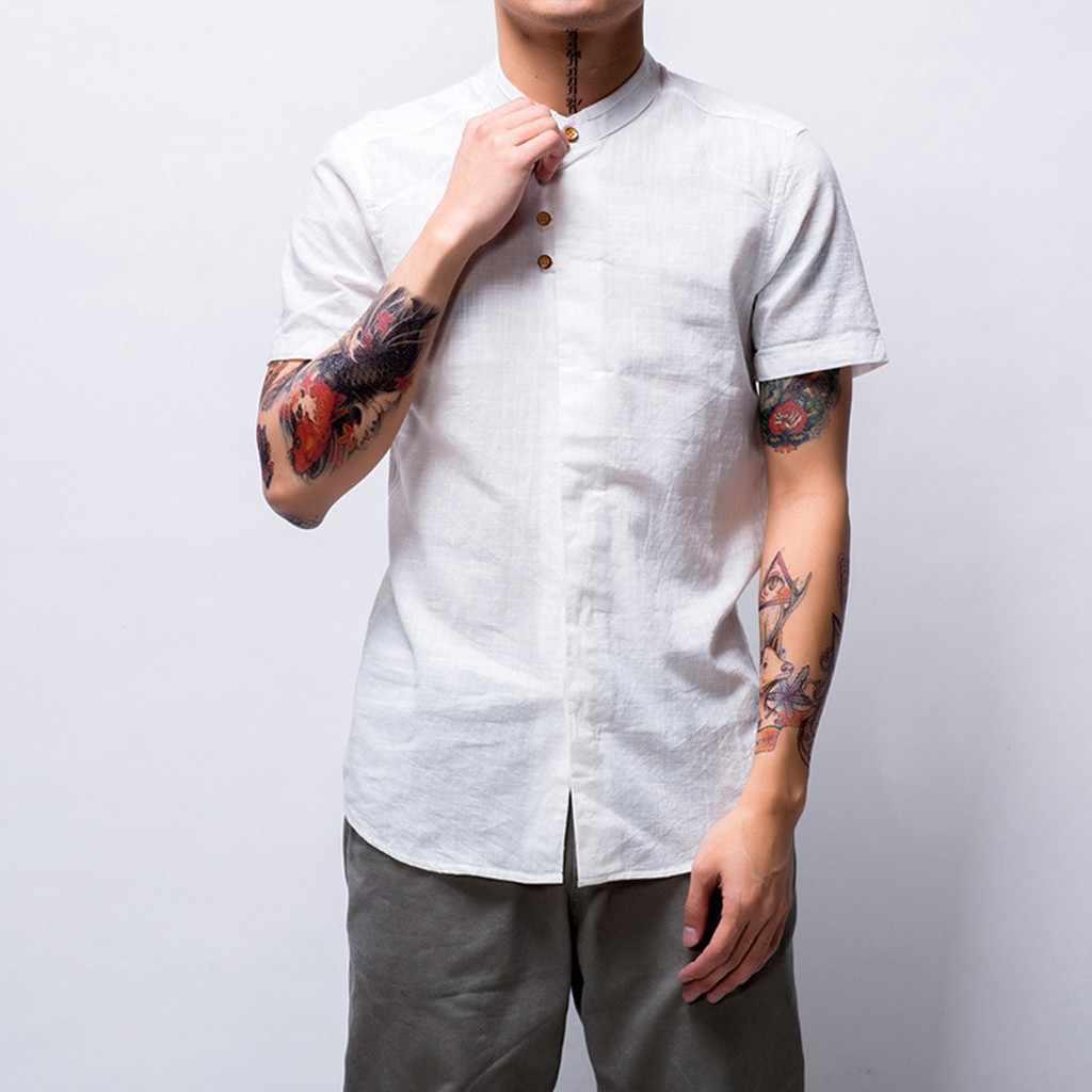 Feitong 男性因果シャツシュミーズ夏スリムフィット半袖トップボタンリネン無地ルーズブラウスハワイシャツ camiseta