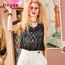 ELFSACK Zomer Vocation Sexy Kant Blouses Vrouwen Vintage Green See Through Beach wear Loose Vest Womens Tops Mouwloze Shirts