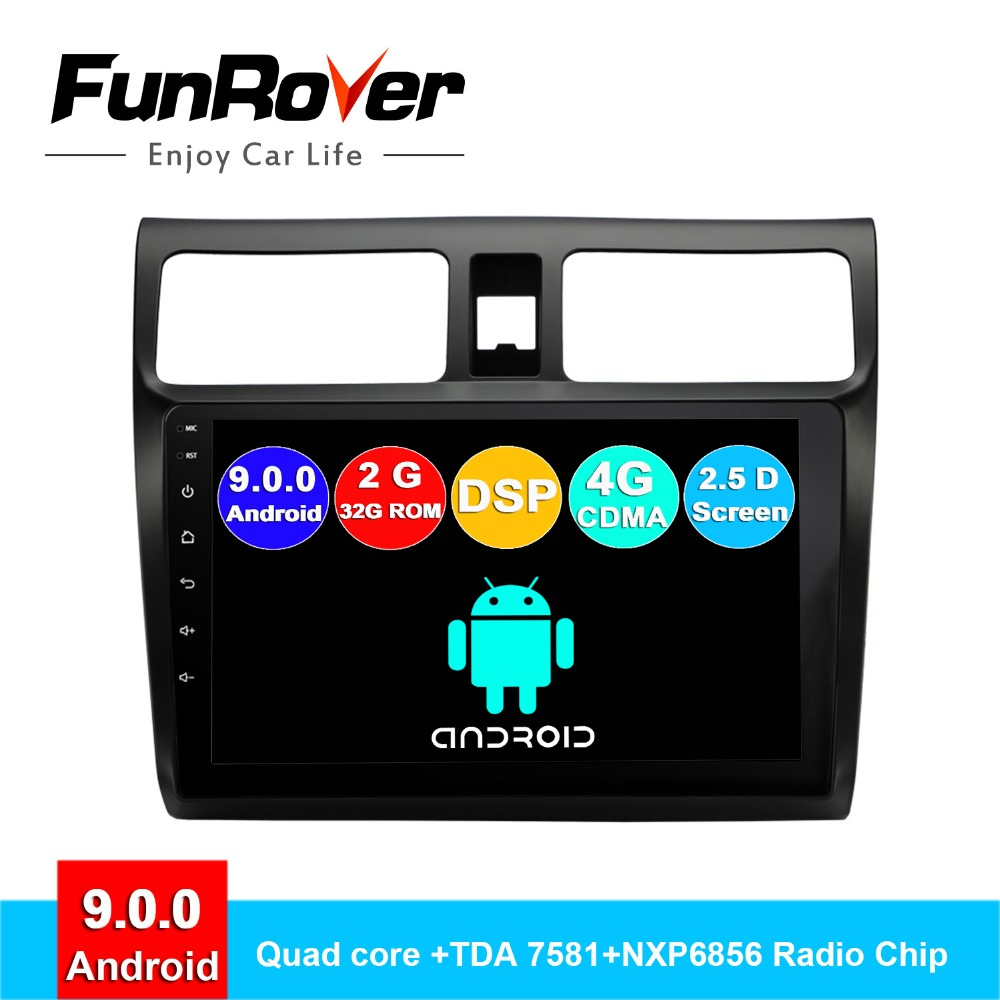 FUNROVER 2.5D + IPS android 9.0 multimídia carro dvd player Para Suzuki Swift 2005-2018 rádio navegação gps estéreos autoradio RDS BT