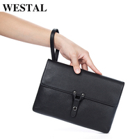 WESTAL Men Clutch Bags Male Envelope Clutch Men Genuine Leather Purse Wallet Business Handbag Male Wallets Bag Casual 2028