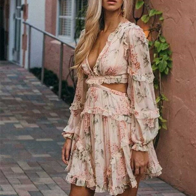 DERUILADY Bohemian Chiffon Dress Women Sexy Backless Bandages Pink Floral Printed Sumemr Dresses Elegan Deep V-neck Mini Dress