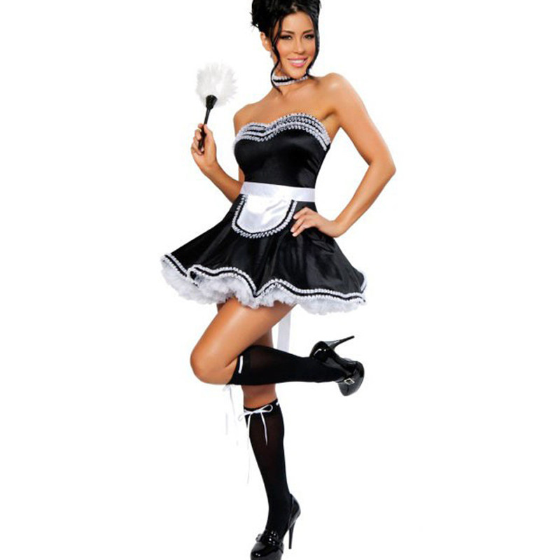 Women Sexy Black Maid Costume Cosplay Sissy Maid Servant Uniform Halloween Costumes Sweet Skirt Fancy Dress W348194