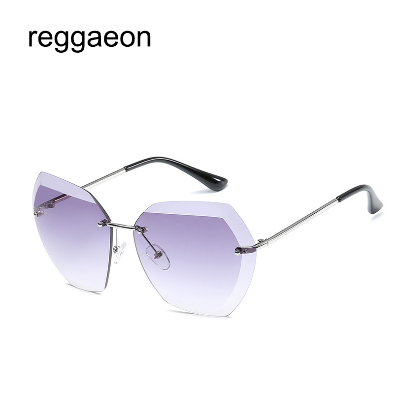 58294b73f89 Detail Feedback Questions about 2019 popular ladies sunglasses women s  brand designer frameless uv400 sunglasses luxury retro rose gold marine  lens ...