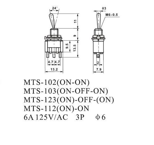 20Pcs/lot Miniature Toggle Switch MTS 102 SPDT 6A 125VAC/3A 250VAC on 6 prong toggle switch diagram, 4 pin wiring a switch, 4 pin trailer wiring, led toggle switch diagram, outdoor flood light wiring diagram,