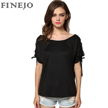 FINEJO Hot Selling Fashion Women Summer Lady T shirts Short Sleeve Solid Black Loose Cool Casual