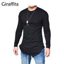 Giraffita 2017 Extend Hip Hop Street T-shirt Wholesale Fashion Brand T Shirts Men Summer Autumn Long Sleeve Oversize Design