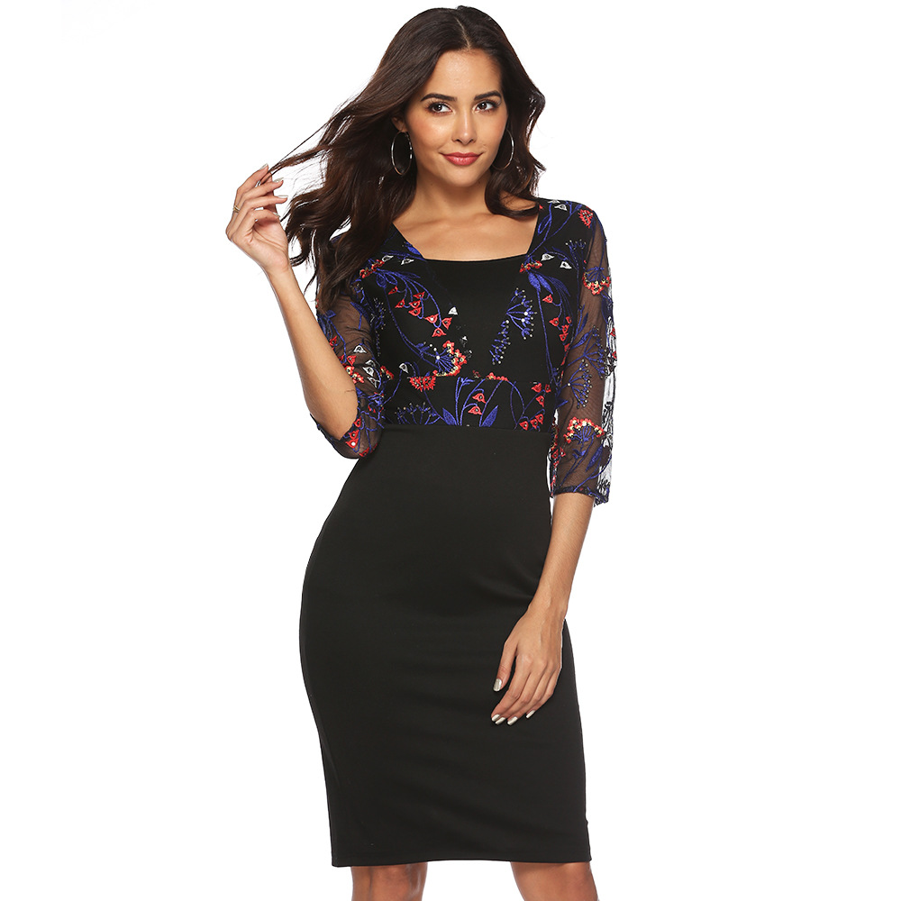 8b04eb4e087 Lace V Neck Knee Length Pencil Skirt Party Dress - Gomes Weine AG