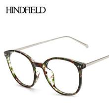 HINDFIELD Moda Diseñador de la Marca Ronda Marcos de Los Vidrios de Las Mujeres de La Vendimia Marco de Las Lentes lente Transparente gafas de sol hombre
