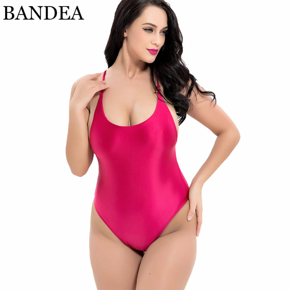 BANDEA Plus Size One Piece Swimwear Women Solid Swimsuit Backless Monokini Sexy Hollow Out Bathing Suit Maillot De Bain 2018 one piece swimsuit women white black bodysuit swimwear hollow out monokini bathing suit sexy maillot de bain biquini e450