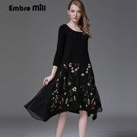 Herbst winter kleid vintage königliche stickerei losen schwarzen kleid fashion runway dame kaninchenhaar splince mesh kleider S-XXXL