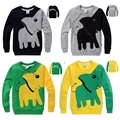 2016 top quality boys t shirt long sleeve spring autumn cartoon  cotton 3d elephant  t-shirts black yellow children t shirts