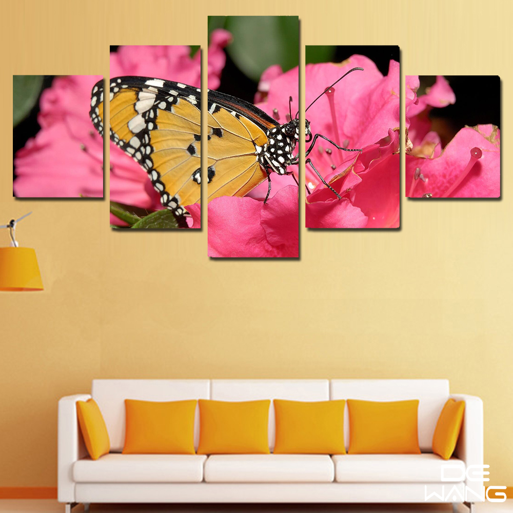 Aliexpress.com : Buy 5 Pieces Canvas Wall Art Pink Modular Pictures ...