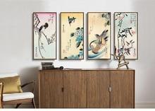 Scenery canvas painting landscape poster home decor art Japan 4 panels art Birds duckling flowers 4 seasons by Ando Hiroshige  цена 2017