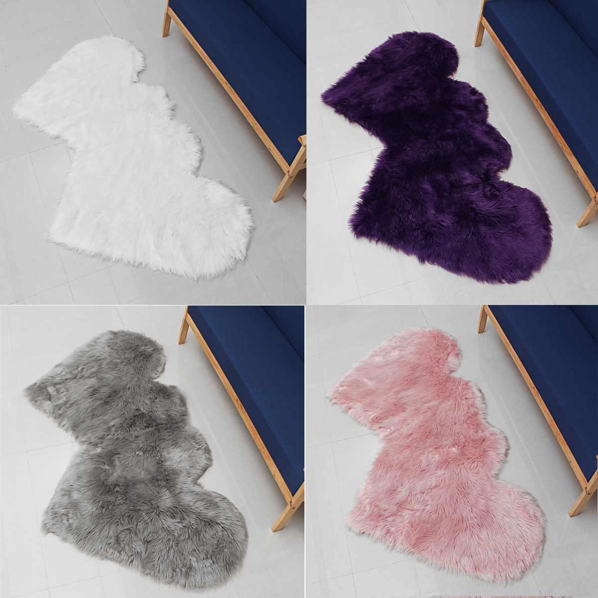 Coeur lié à coeur forme grand tapis tapis pour la maison chambre salon décor Super Shaggy tapis de fourrure doux Faux laine tapis