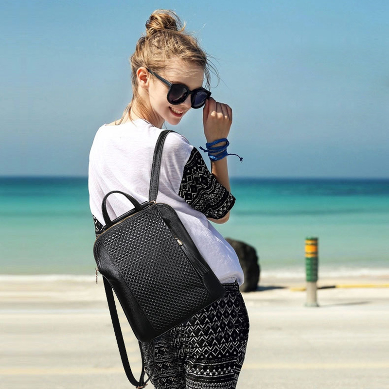 2017 Preppy Style Soft Cow Leather Student Backpack Lady Leisure Travel Large Capacity Grid Texture Zipper Double Shoulder Bag korean style fashion student soft genuine leather zipper backpack beach travel cowhide solid color double shoulder bag for gifts