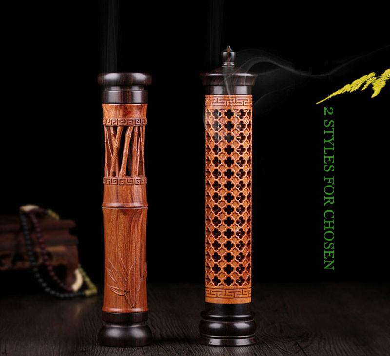 1 Piece African Rosewood Purple Sandalwood Combination Hollow Sculpture Stick Incense Burner