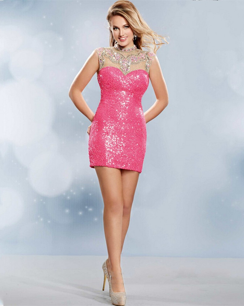 Sparkly Pink short tight Homecoming Dresses 2016 cheap prom sequin ...