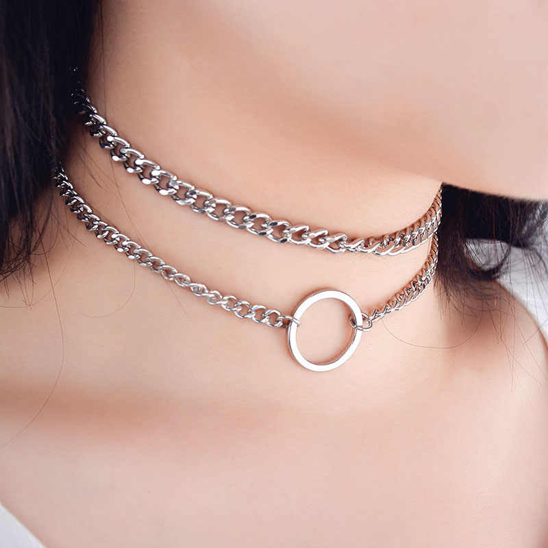 2019 New Punk Round Circle Double Layer Metal Chain Choker Necklace for Women Simple Neck Chocker Clavicle Jewelry Gift XR758