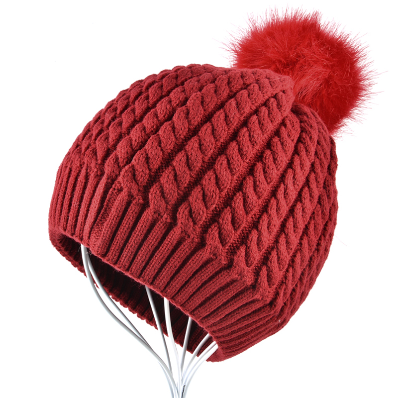 free shipping 2017 new fashion winter high quality acrylic hat knitted hat bonnet ladies casual cap for women ladies 2016 High quality Women hat Ladies winter hats Double layer Knitted wool bonnet girls beanies Solid Color Casual Pompoms Caps