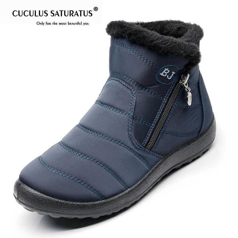 Cuculus Plus size 35-43 2019 winter nieuwe snowboots vrouwelijke tube dikke pluche waterdicht katoen laarzen side rits vrouwen laarzen 1363