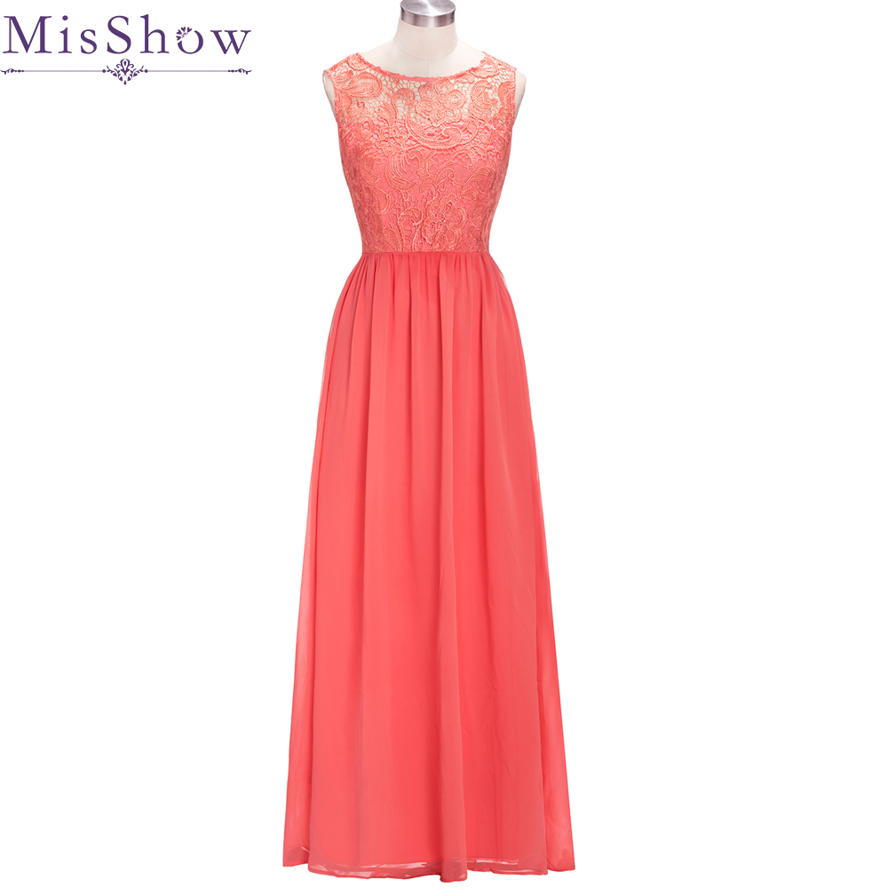2019 Long Cheap Coral Purple   Bridesmaid     Dresses   Under 50$ Sleeveless Chiffon Lace a-Line Vestido De Madrinha De Casamento Longo