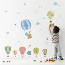 hot air balloons 30*90cm wall stickers for kids rooms home decor cartoon animals wall decals pvc mural art diy wallpaper
