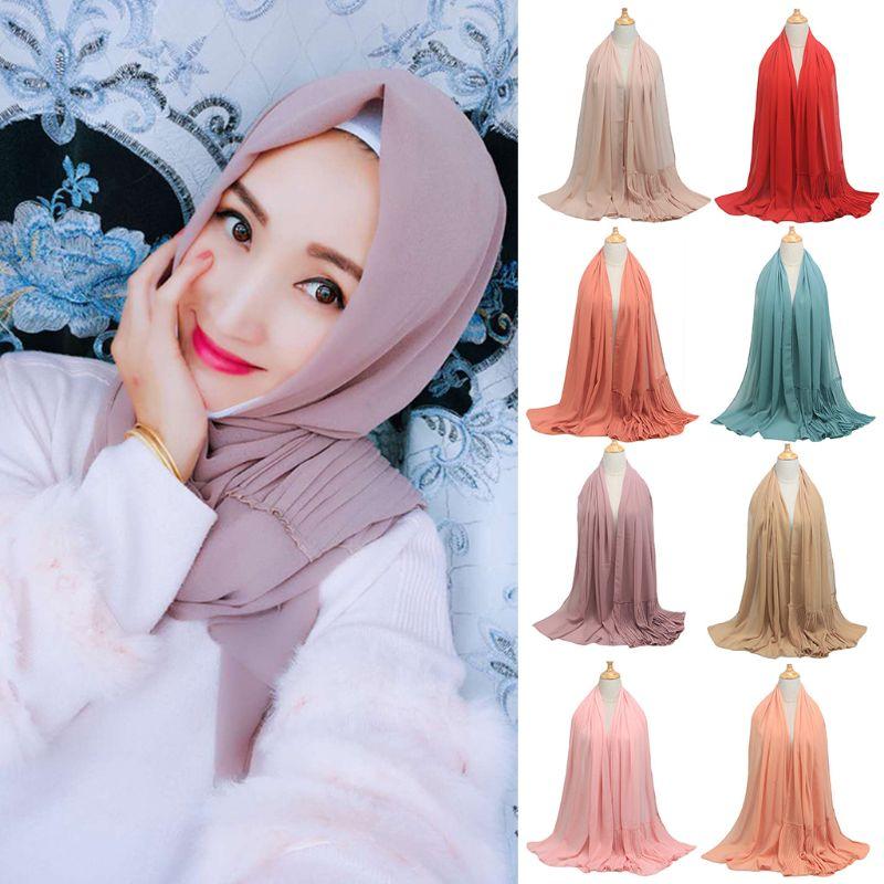 Women Ethnic Oversize Crinkle Chiffon Hijab Muslim Head Scarf Solid Color Pleated Ruffled Trim Shawls Islamic Head Wrap Headband