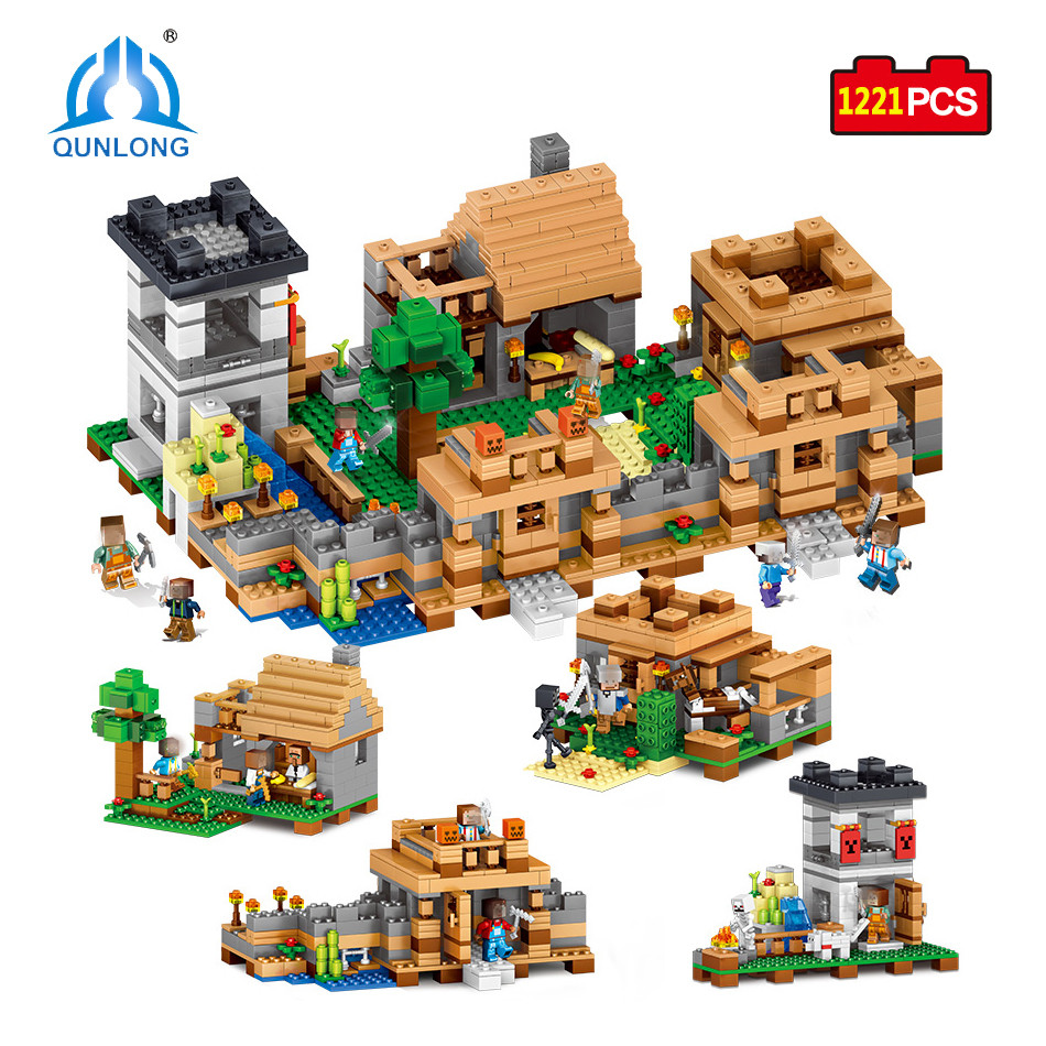 Qunlong Toys MY WORLD 4 In 1 Dream Village Mini Figures Building Blocks Compatible Minecraft Legoe City Educantion Toy For Kids qunlong 0521 my world volcano mine building blocks toy compatible legoe minecraft building block city educational boys toy gift