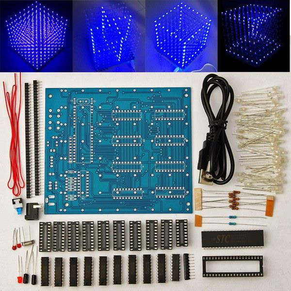 Factory Price Promotion!! 8x8x8 LED Cube 3D Light Square Blue Electronic DIY Kit Tempered ability