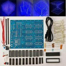Бесплатная доставка, заводская цена Акция! 8x8x8 LED Cube 3D Площадь синий светодиод Электронные DIY Kit закаленное способность
