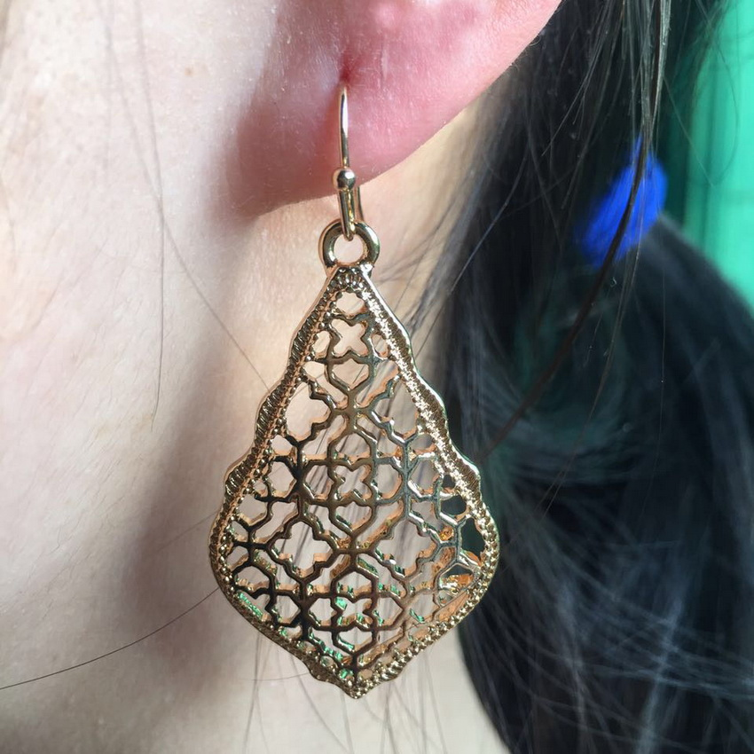 ZWPON zlatne naušnice u obliku marokanskih naušnica, karirane - Modni nakit - Foto 5