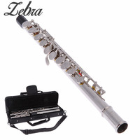 Silver Cupronickel Nickel Plated 16 Hole C Key Western Concert Flute Kit with Case Cover Parts For Musical Instrument Beginners