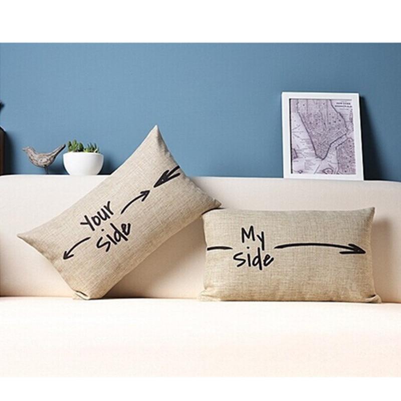 Cotton Linen Pillow Cover Decorative Throw Pillows Home Decor Almofadas Sofa Pillowcase Text Arrow Cushion Cover 30x50cm