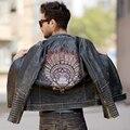 O ENVIO GRATUITO de 2017 Homens Do Vintage Retro Crânios Bordado Jaqueta De Motoqueiro de Couro Preto Genuíno Homem Cowskin Slim Fit Casaco Motocicleta