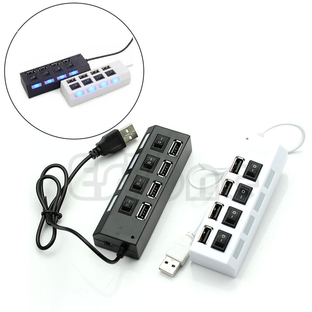 Multi Expansion 4 Ports Tap with USB 2.0 High Speed Hub ON/OFF Switch For PC Laptop