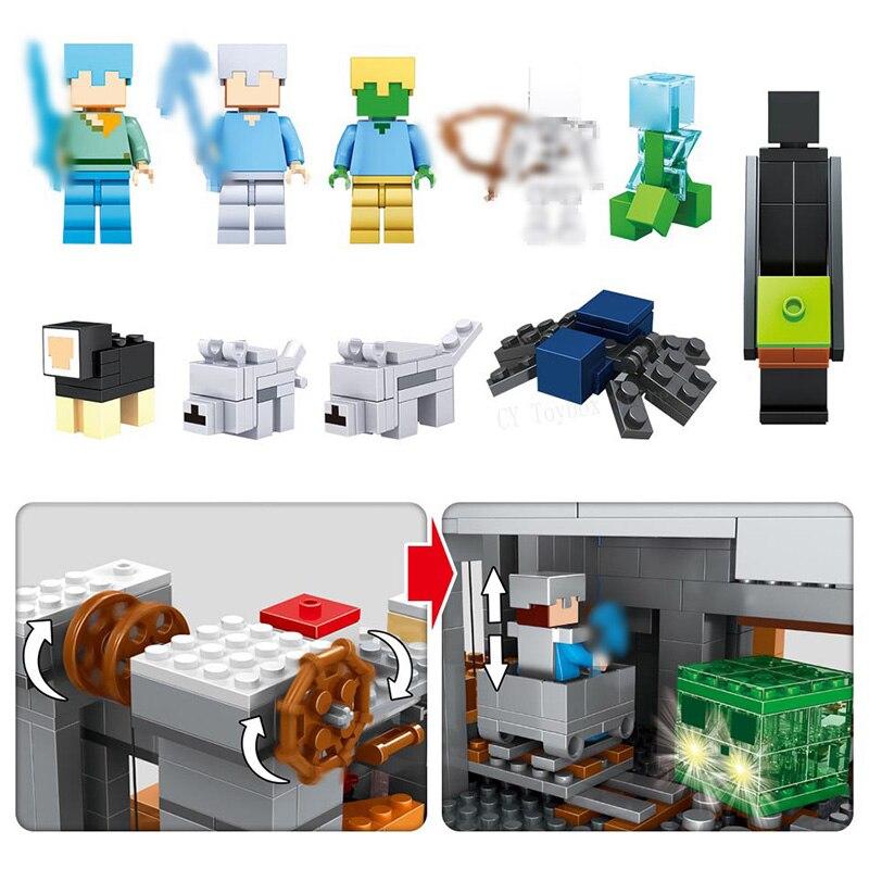 Mon Monde Mécanisme Grotte blocs de construction Compatible LegoING Minecrafted Aminal Alex figurines d'action jouets briques Pour Enfants - 3