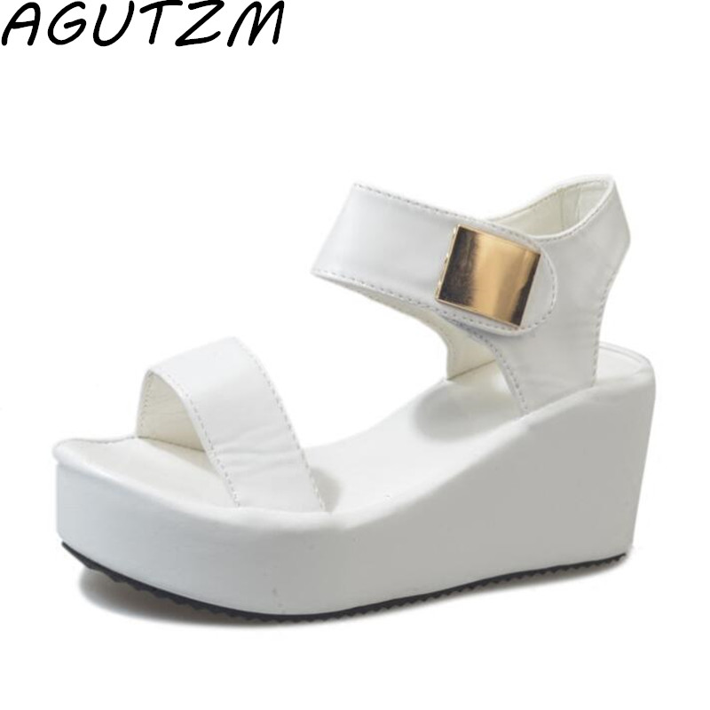 AGUTZM Woman Sandals 2018 Summer Women Concise Platform Open Toe Casual Shoes Woman Fashion Thick Bottom Wedges Sandalias nemaone new 2017 women sandals summer style shoes woman platform sandals women casual open toe wedges sandals women shoes