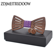 New Design Tie Set With Gift Box Jacquard Sunshine Woven gravata Wooden Bow Cufflinks Sets For Wedding Party Men