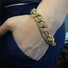Мужской браслет в стиле хип хоп золотой серебряный с кубинскими