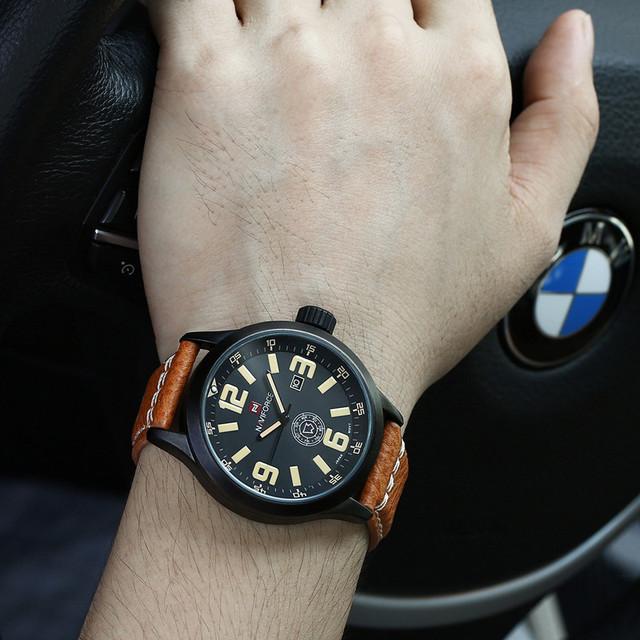 2016 Luxo Marca NAVIFORCE Moda Relógios Homens De Couro Casual relógio Militar Relogio masculino Dos Homens Do Esporte relógio de Pulso À Prova D' Água