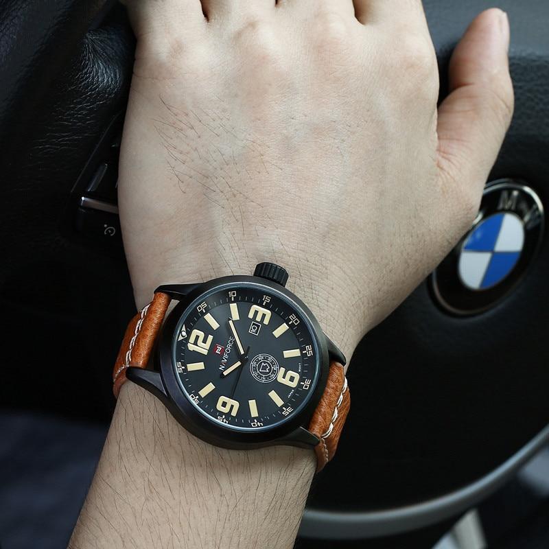 a18688cfe2b 2016 Luxo Marca NAVIFORCE Moda Relógios Homens De Couro Casual relógio  Militar Relogio masculino Dos Homens Do Esporte relógio de Pulso À Prova D   Água em ...