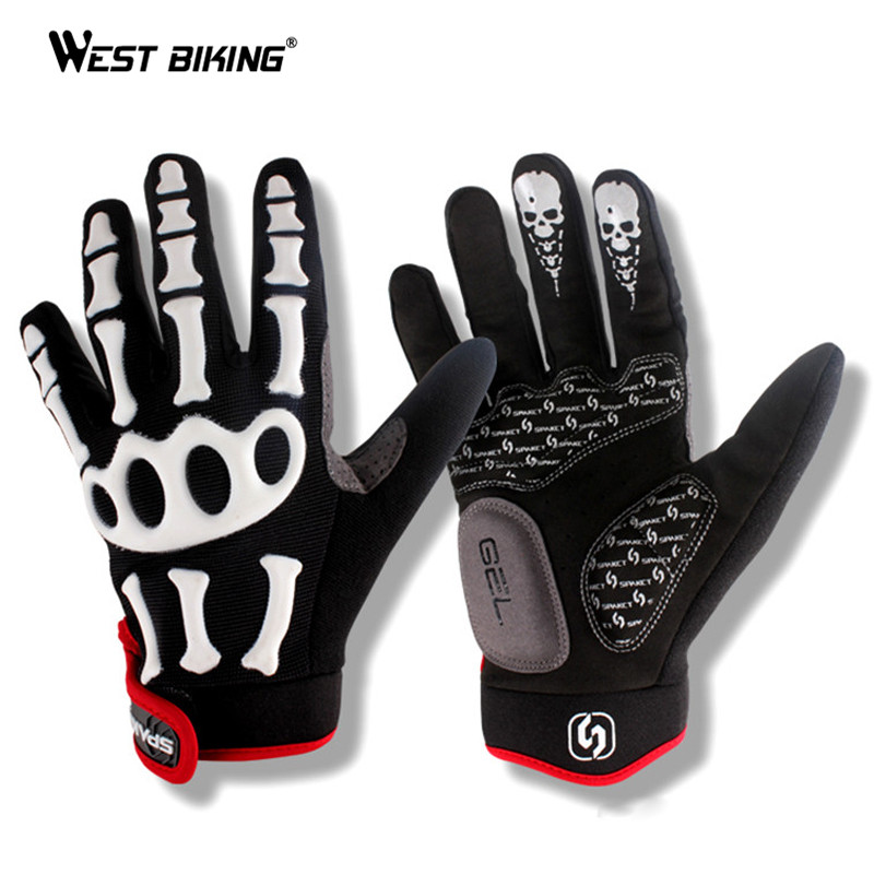 WEST BIKING Winter <font><b>Cycling</b></font> Gloves Silicone GEL Thermal Fleece Guantes Skull Motorcycle Bike Gloves <font><b>Full</b></font> Finger Bicycle Gloves