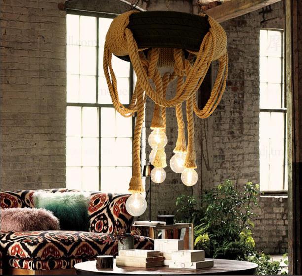 Industrie hanf seil kreative persönlichkeit retro nostalgie reifen anhänger lampe