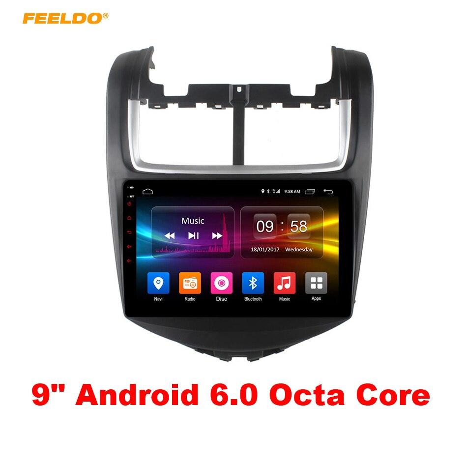 FEELDO 9 pouces Android 6.0 (64bit) Octa Core DDR3 2G/32G/FDD 4G voiture DVD GPS unité de tête Radio pour Chevrolet Aveo 2011 # AM3853