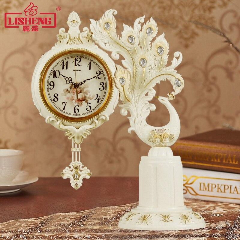 Horloge de paon européenne horloge de Table de salon montre à Quartz silencieuse personnalité Art horloge pendule décoration horloges de bureau et de Table