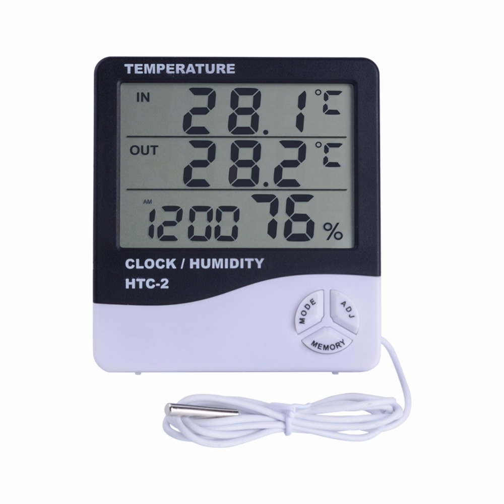 yieryi Weather Station HTC-2 HTC-1 Indoor Outdoor Thermometer Hygrometer Digital LCD C/F Temperature Humidity Meter Alarm Clock