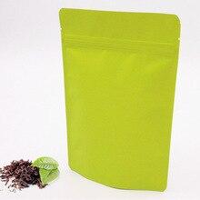 Wholesale 100pcs 15x23cm Matte Green Aluminum Foil Bag Stand up Ziplock Food Bags, Zipper lock General packing Bag, Coffee bags