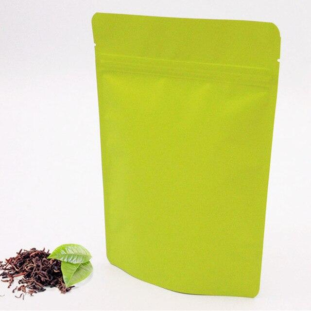 Free shipping! 100pcs 15x23cm Matte Green Aluminum Foil Bag Stand up