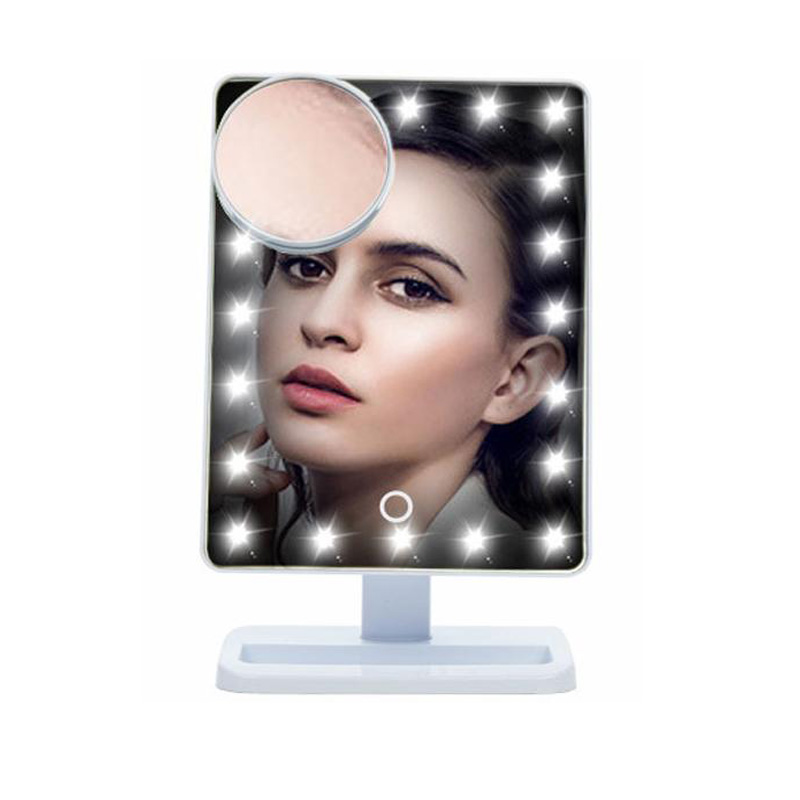 Adjustable Vanity 20 LEDs Lighted Makeup Mirror Touch Screen Portable Tabletop Lamp Cosmetic 180 Rotating Mirror Make Up Tool 22 led touch screen makeup mirror 10x magnifier bright lighted cosmetic makeup mirror portable vanity countertop 180 rotating